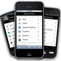 Wesleyan Mobile Site - screen shot of menu