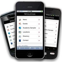 Wesleyan Mobile Site - screen shot of menu
