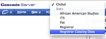 Select Registrar Catalog Data from the DropDown